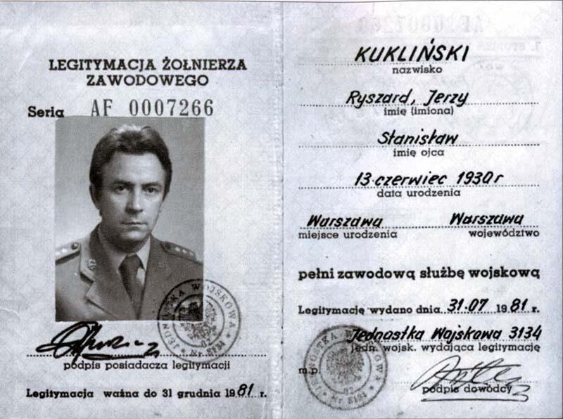 Legitymacja Żołnierza Zawodowego Ryszarda Kuklińskiego