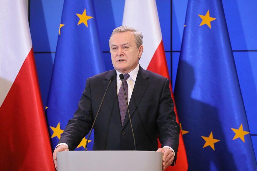 Piotr Gliński na konferencji prasowej