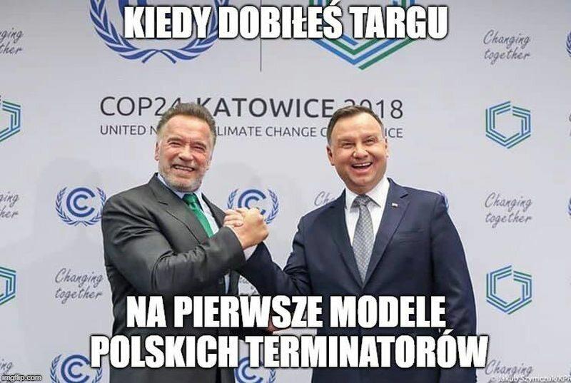 Mem po spotkaniu Andrzeja Dudy z Arnoldem Schwarzeneggerem