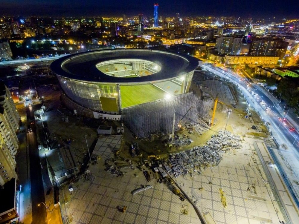 Budowa stadionu w Jekaterynburgu, sierpień 2017