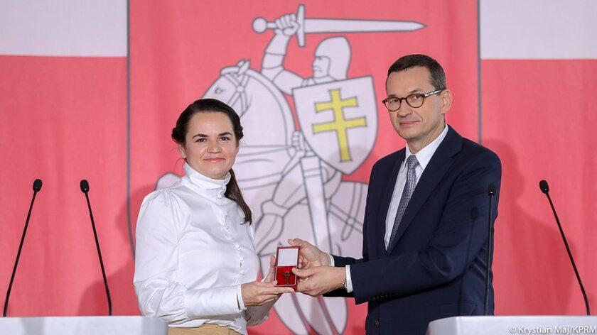 Swiatłana Cichanouska i Mateusz Morawiecki
